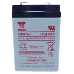 Yuasa brand 6V, 4.5Ah Sealed Lead Acid Battery for Infusion Pump Hospira Plum A+