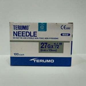"Terumo -Disposable needle - 27 G x 1/2"" - 100's per box"
