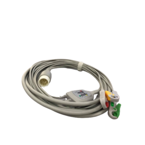 One-piece ECG Cable 3 leads Clip type, 12 pins - OEM for Philips Defibrillator