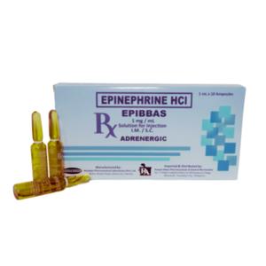 """Epinephrine                                                                                      """"Epibbas""""                                                                                        - 10 ampoules/box"""