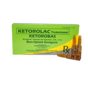 """Ketorolac Trometamol                                                            """"Ketorobbas""""                                                                                         - 10 ampoules/box"""