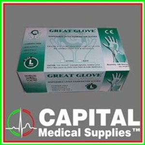 GREAT GLOVES, Disposable Latex Examination Gloves