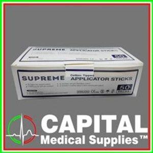 Supreme, Cotton Tipped Applicator Sticks, Big Head, 50 pcs 2 pc/pack, Sterile