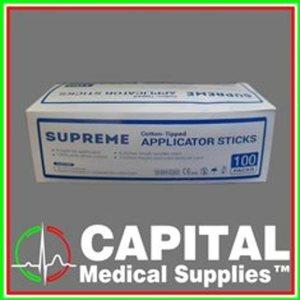 Supreme, Cotton Applicator Sticks, 100 pcs 2 pc/pack, Sterile