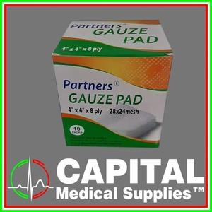 PARTNERS, Gauze Pad, 4 x 4, 8Ply, Sterile, 10pck/box
