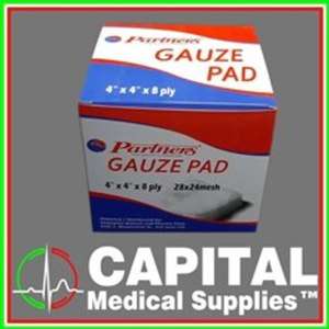 PARTNERS, Gauze Pad, 4 x 4, 8Ply, Sterile, 1 box