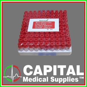 SURGITECH, Vacuum Blood Collection Tube, Microtainer, Red Top 0.5ml