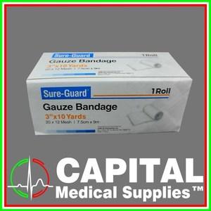 SURE-GUARD, Gauze Bandage, (3 x 10 yards), 12 rolls
