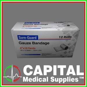 SURE-GUARD, Gauze Bandage, (4 x 10 yards),  12 rolls