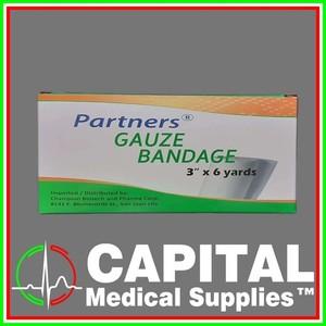 Partners, Gauze Bandage, 3x6 yards, 12 rolls